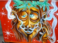 Jezus smoking weed (regtur) Tags: netherlands dutch fun weed painted nederland fair tilburg smokin kirmes kermis attraction blower jezus attractie medion ticketbox