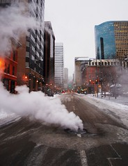 17th street steam (pbo31) Tags: road street city trip morning travel urban usa white holiday snow cold color up season grey nikon colorado downtown december pavement infinity smoke favorites surface denver steam photograph co manhole rise 2007 lodo supershot