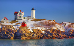 Nubble Light In Snow (brentdanley) Tags: york winter lighthouse snow maine explore hdr nubblelight capeneddicklight 3exp