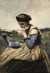 Blogging Au Plein Air,  after Jean-Baptiste-Camille Corot (Mike Licht, NotionsCapital.com) Tags: art painting women laptop humor computers blogs bloggers blogging anachronism corot arthumor mikelicht notionscapitalcom