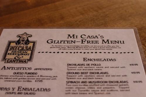 Mi Casa's gluten-free menu