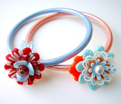 Blue and Orange Vintage Flowers Bracelets
