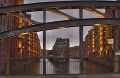 (419) View from a bridge (avalon20_(mac)) Tags: city bridge light house water architecture night germany geotagged canal twilight europe hamburg canals alemania tyskland allemagne hdr speicherstadt duitsland waterways brcken eos40d