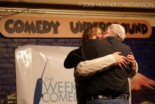 John Keister makes out with Barbara Sehr at the Comedy Underground in Seattle.
