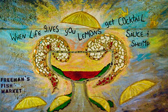 when life gives you lemons... (placenamehere) Tags: newjersey lemon mural publictransportation unitedstates essexcounty nj shrimp tunnel lemons advertisement maplewood njtransit cocktailsauce tamron1750mmf28 maplewoodtrainstation freemansfishmarket