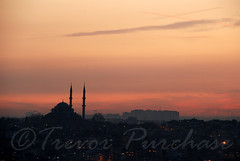 Fading with Glory (WanderWorks) Tags: city sunset turkey horizon istanbul mosque galata