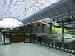 Eurostar (Dan (aka firrs)) Tags: railroad london station train stereoscopic 3d iron arch eurostar transport rail railway anaglyph stereo stpancras channeltunnel truss williamhenrybarlow