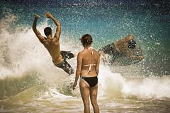 Kua Bay Kicks (SARAΗ LEE) Tags: woman boys hawaii bay three kai midair bigisland kona kailua kua bodyboard kekaha micahm sarahlee sandslide legothenego kekahakaistatepark jakekb