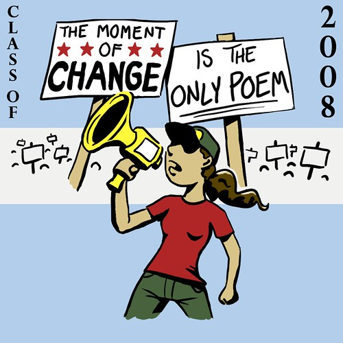 "cartoon of a brown-haired woman with a megaphone standing in front of a crowd all holding signs -- the ones near her say, ""The moment of change"" ""is the only poem"""