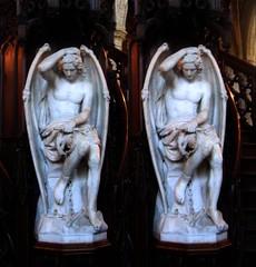 Devil's sculpture (Archi-Tekton) Tags: sculpture 3d crosseye belgium belgique stereo devil lige diable crossview