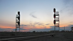 The Belt Railway of Chicago west 68th street Wye junction at sunset. Chicago Illinois. August 2008.
