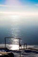 stairway down the ice (Mange J) Tags: 50mmf17 k3ii magnusjakobsson pentax sverige sweden värmland blue clear cold freezing frost ice pentaxart sky winter värmlandslän se
