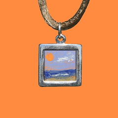 moonlight_beach (bulamonster) Tags: light shadow love paper landscape cord miniature necklace paint acrylic oneofakind jewelry impressionism satin signed
