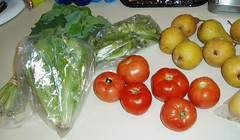 greens, tomatoes, pears