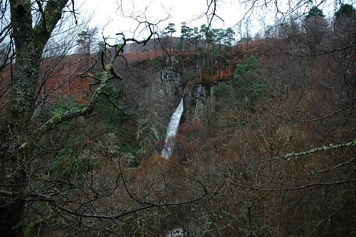 Grey Mares Tail Waterfall through the trees