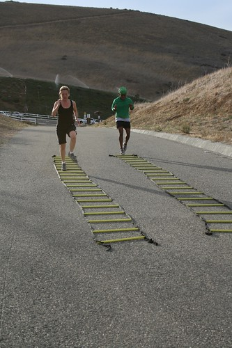 Debra and Deana on the agility ladder - PUSH IT!!!03 by Simi Valley Boot Camp