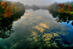 The Floating Sky ( D L Ennis) Tags: morning autumn trees mist fall misty fog clouds reflections bravo cloudy foggy overcast blueridgemountains jamesriver supershot anawesomeshot superbmasterpiece dlennis diamondclassphotographer thefloatingsky