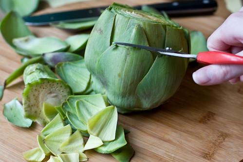 Prepping an Artichoke