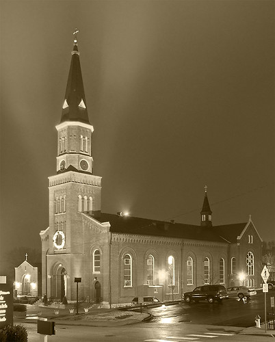 Saint Peter Roman Catholic Church, in Saint Charles, Missouri, USA - sepia-toned exterior at night.jpg