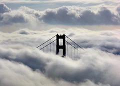 Golden Gate Bridge in the Clouds (Rob Kroenert) Tags: sanfrancisco california bridge usa fog clouds landscape golden gate san francisco marin goldengatebridge headlands
