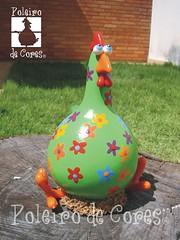 ref.135 (POLEIRO DE CORES) Tags: galinha handmade artesanato biscuit cabaa porongo poronga