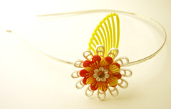 Yellow, Red and White Vintage Flowers Headband