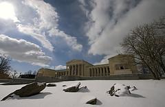 Albright-Knox Art Gallery, Buffalo, NY (Lou Ann A) Tags: winter usa snow ny architecture canon buffalo artgallery canon300d columns canonrebel westernnewyork albrightknox