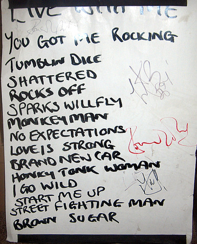 Original Setlist from 1994 Stones Club Gig