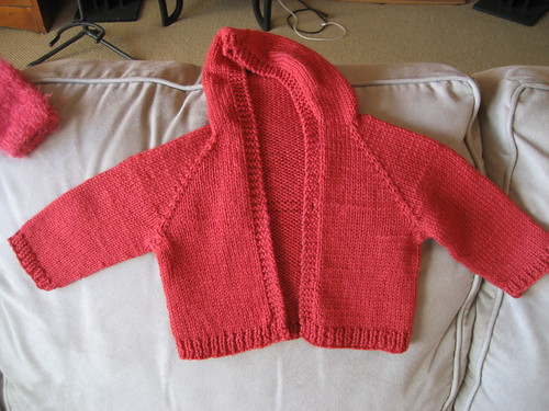 red hooded baby cardigan