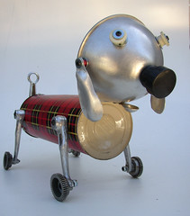 tartan terrier (Lockwasher) Tags: sculpture dog folkart originalart terrier thermos tartan k9 junkart recycleart foundobjectart lockwasher