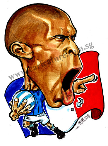 caricature Thierry Henry colour watermark