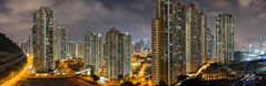 The Joy Of Repetition (Tim van Zundert) Tags: pingshan photography panorama architecture towers blocks city cityscape skyline landscape night evening longexposure hongkong kowloonbay kowloon china sony a7r voigtlander 21mm ultron