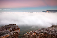 Summer Mist    MOUNT VICTORIA    BLUE MOUNTAINS (rhyspope) Tags: australia aussie nsw new south wales blue mountains mt mount vic victoria sunrise sunset rock fog mist rhys pope rhyspope canon 5d mkii view vista lookout rocks sky clouds weather
