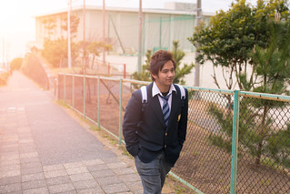 High school student going back home after school