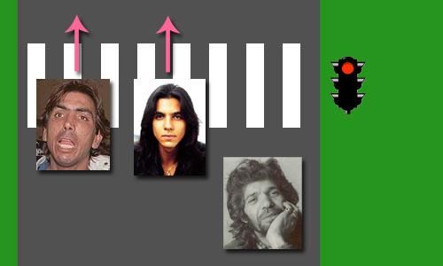 La reacción de tres hombres ante un semáforo en rojo