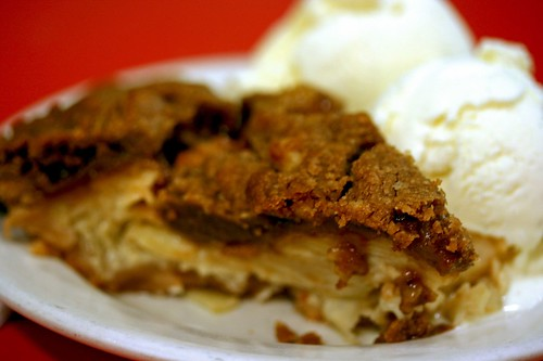 A Slice of Sour Cream Walnut Pie a la mode