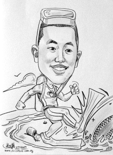 Caricature scuba diver pencil