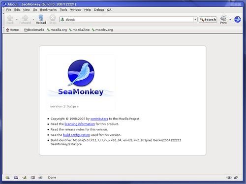 infos technique de SeaMonkey avec le thème classique