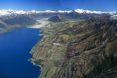 Lake Wakatipu, towards Glenorchy (lachlansear) Tags: blue newzealand lake snow mountains water river landscape humboldt interestingness interesting scout explore valley nz otago wakatipu lakewakatipu glenorchy top500 joyflight humboldtmountains 10faves