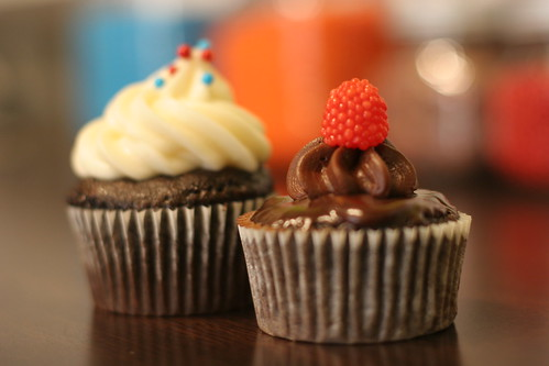 Super Bowl and chocolate raspberry ganache cupcakes from Happy Cakes Denver