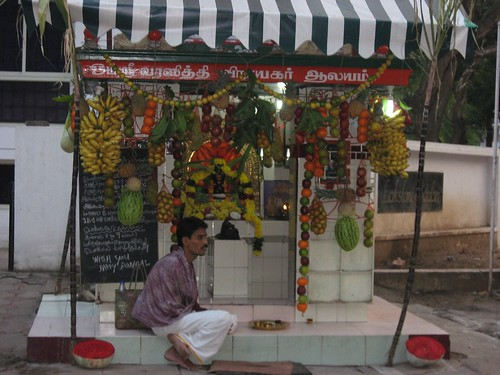 Roadside Pillayar koyil decked up in all kinds of fruits