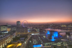 South Bank sunset (Jon Cartwright) Tags: sunset sky london thames wonderful river nikon dusk nt centre sigma londoneye southbank waterloo 1020mm charingcross hdr southwark imax royalfestivalhall nationaltheatre hungerfordbridge waterloobridge d300 shellbuilding upperground mywinners