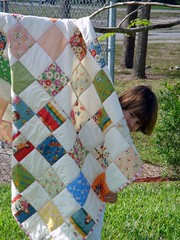 girls american jane quilt, with A.