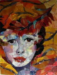 Autumn Mix (Carol Shelkin, Artist) Tags: winter summer portrait shells color art fall philadelphia glass set portraits beads spring mixed eyes artist sad seasons mosaic fineart  mosaics tiles asiangirl glassbeads commissions asianlady staiinedglass nogrout artistmama wwwcarolshelkinmosaicscom carolshelkin wwwcarolshelkinmosaiccom carolsoritzshelkin carolshelkinmosaics