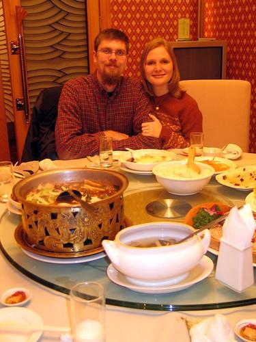 Shorel and Sandra at a Chinese banquet.