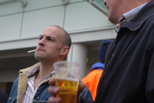 Cheltenham racing folk - beer and cigarettes