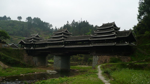Two Level Covered Bridge - Batuan Village - Guangxi, China