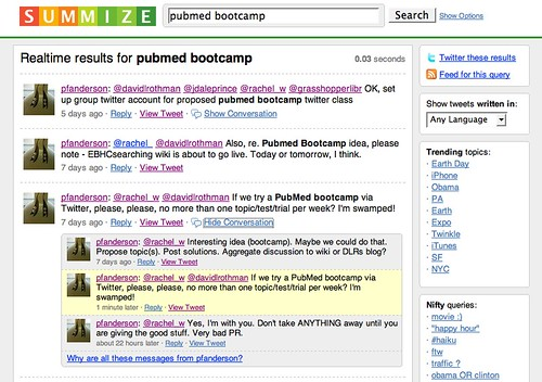 Twitter: Pubmed Bootcamp - Summize Search