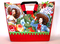 Saucy Senorita Tote Bag (Madame Maxine's Rockabilly Rags & Bags) Tags: tattoo bag dayofthedead mexico handmade 1940 retro mexican purse rockabilly latina etsy tote pinup 1950 senorita