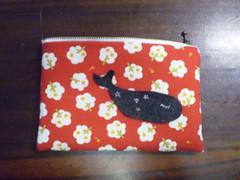 handmade pouch - whale